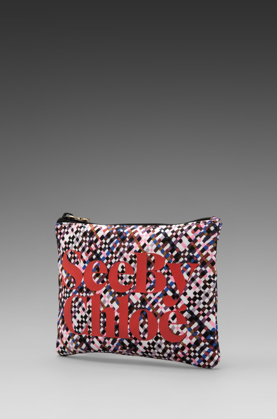 See By Chloe See by Ziggy Zipped Pouch in Tweed Print Nougat