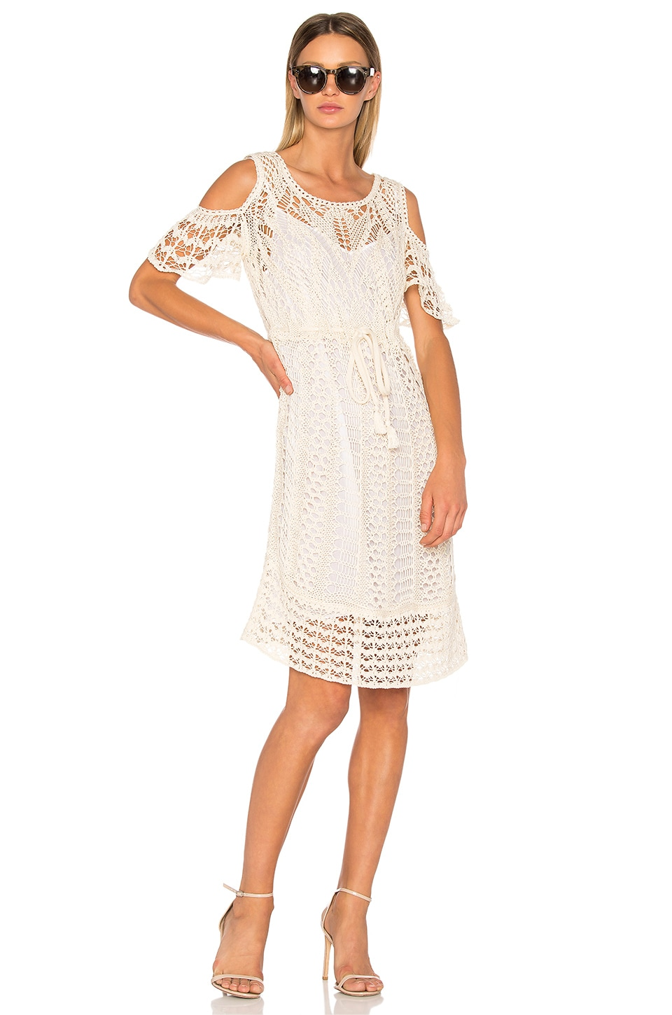 See By Chloe Crochet Midi Dress in Natural White