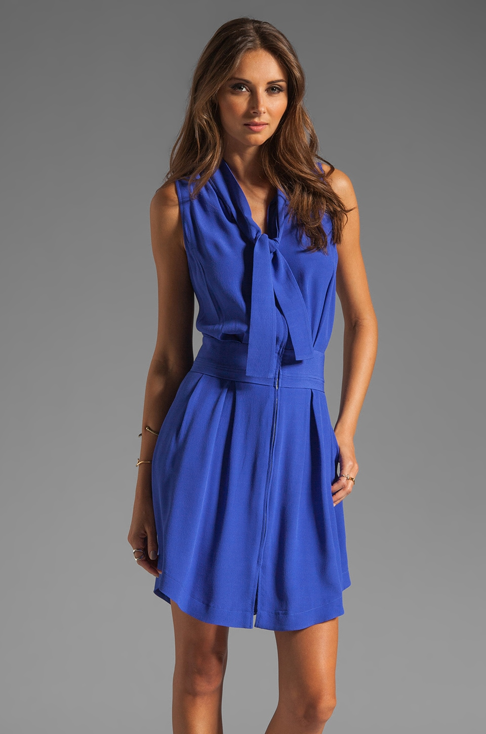 See By Chloe Short Sleeve Neck Tie Waist Intake Dress in Blue