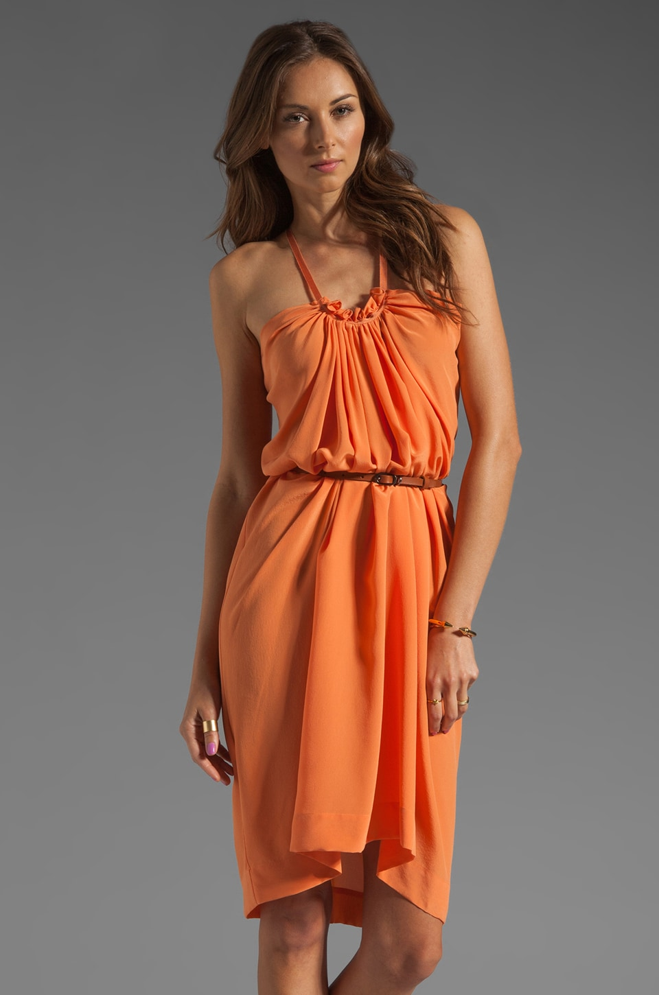 See By Chloe Belted Halter Dress in Orange
