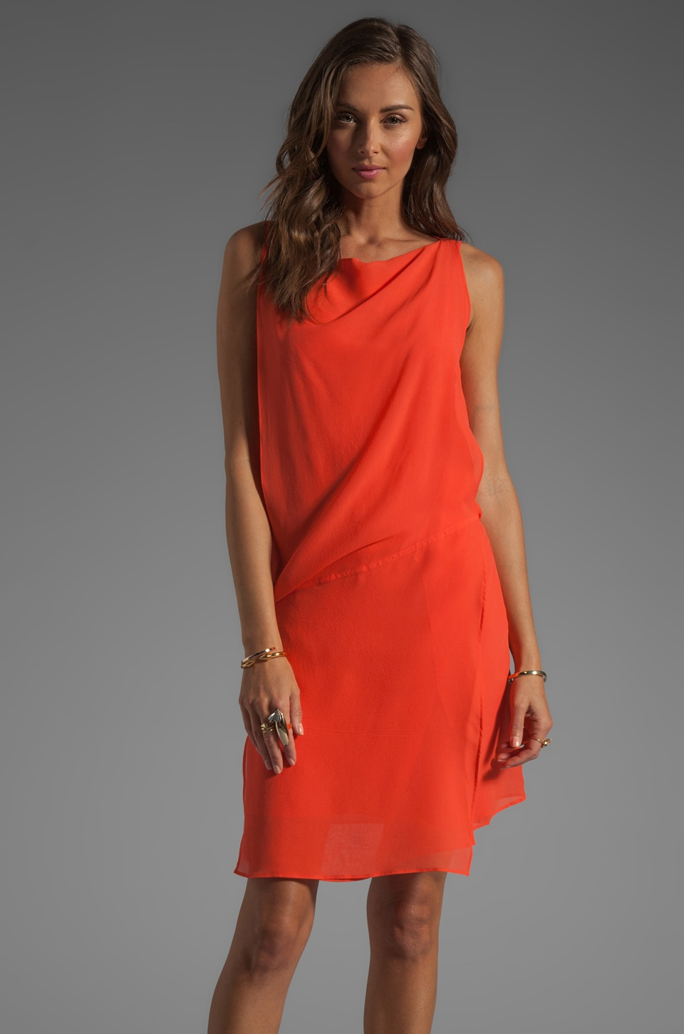 See By Chloe Short Sleeve Wrap Dress in Neon Orange