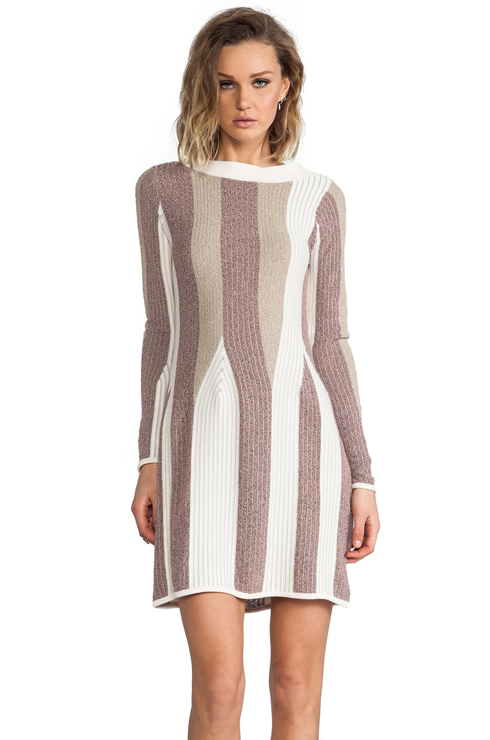 See By Chloe Long Sleeve A Line Sweater Dress in Light Grey