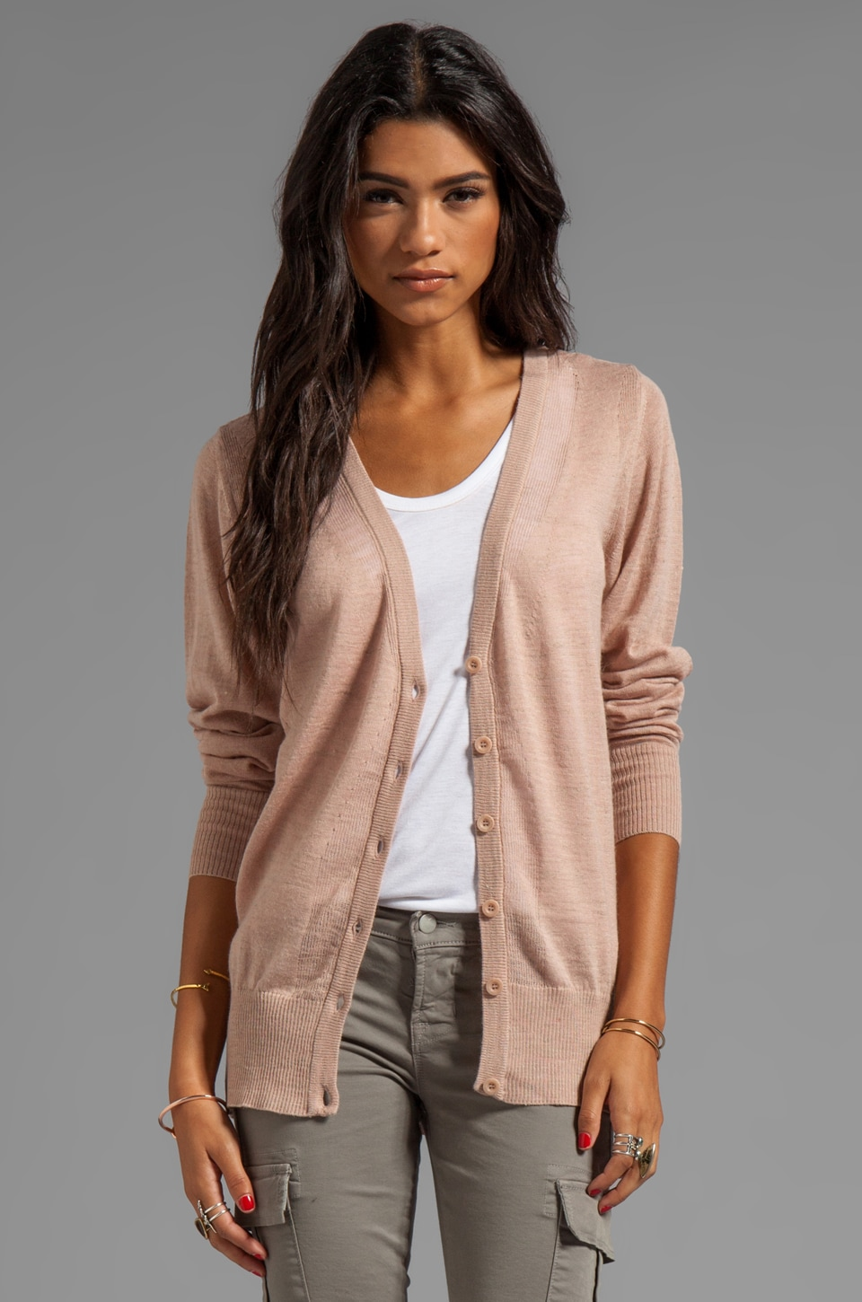 See By Chloe Long Sleeve Ribbed Cardigan in Pink