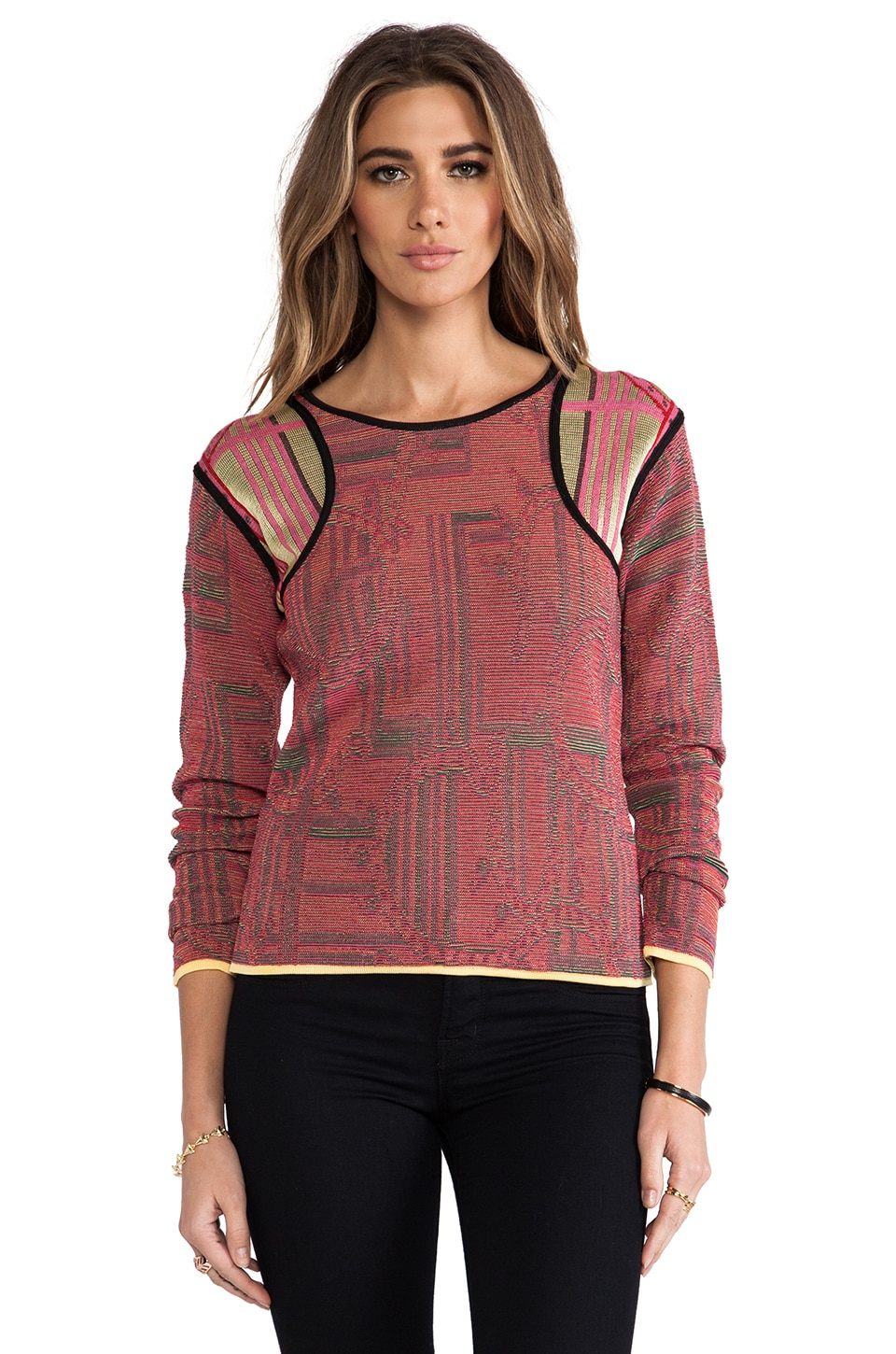 See By Chloe Long Sleeve Sweater in Red/ Black