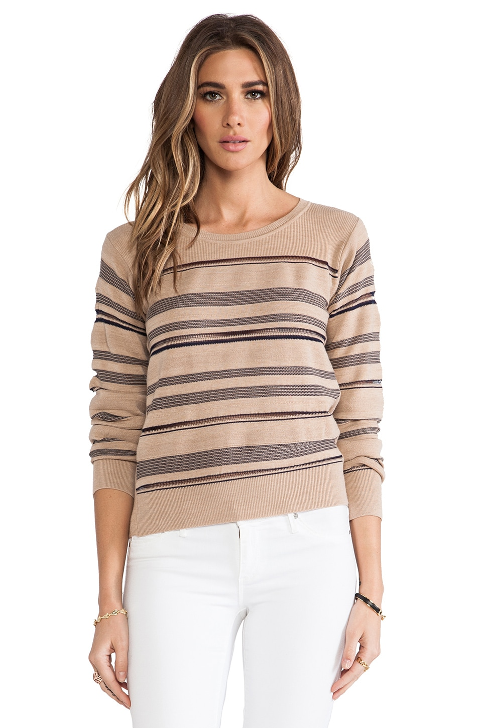 See By Chloe Long Sleeve Horizontal Sweater in Multi