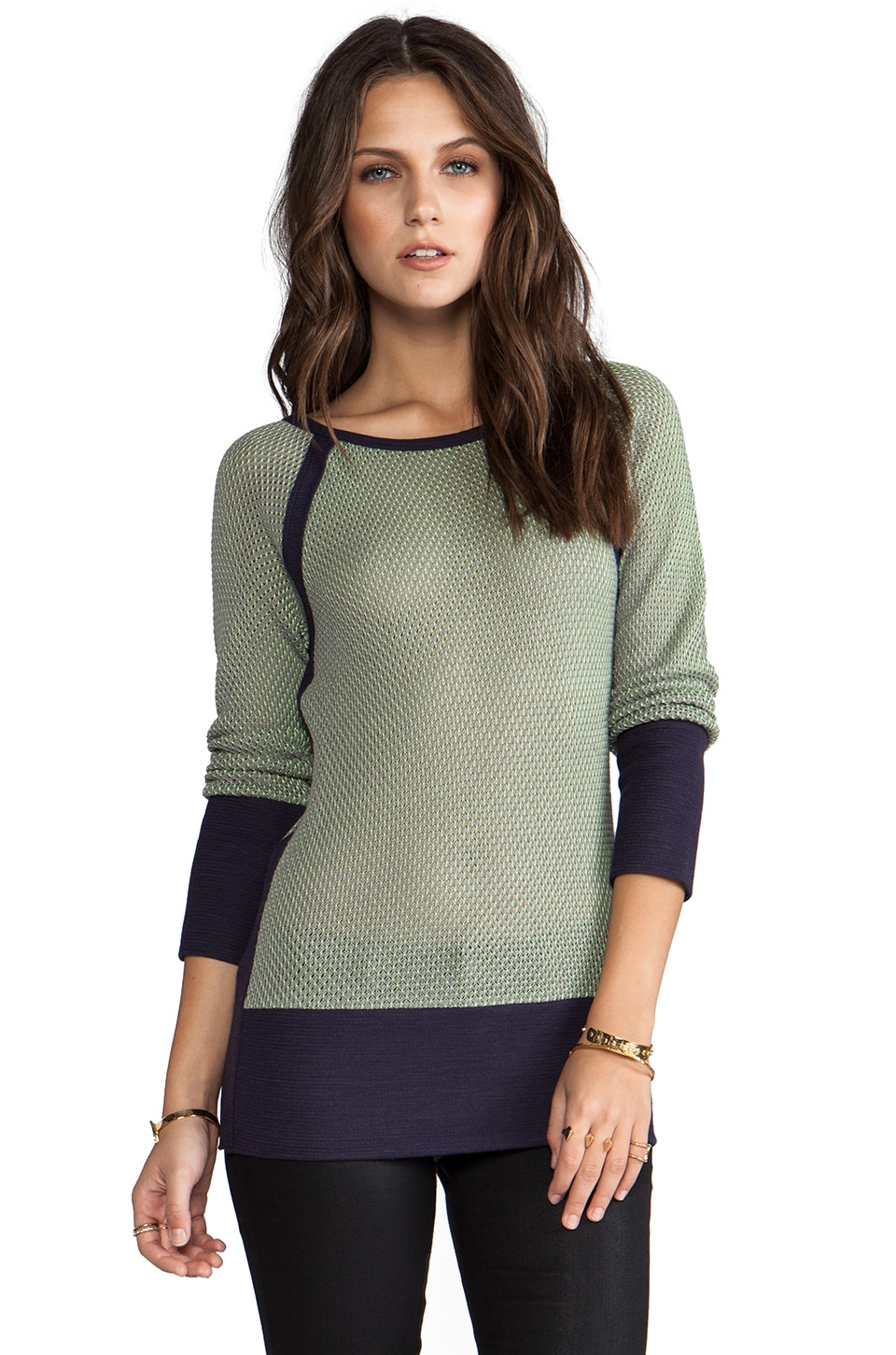 See By Chloe Long-Sleeve Bottom Panel Sweater in Steel Grey