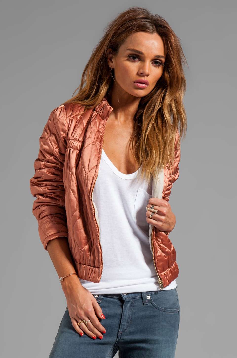 See By Chloe High Collar Bomber Jacket in Rust Brown