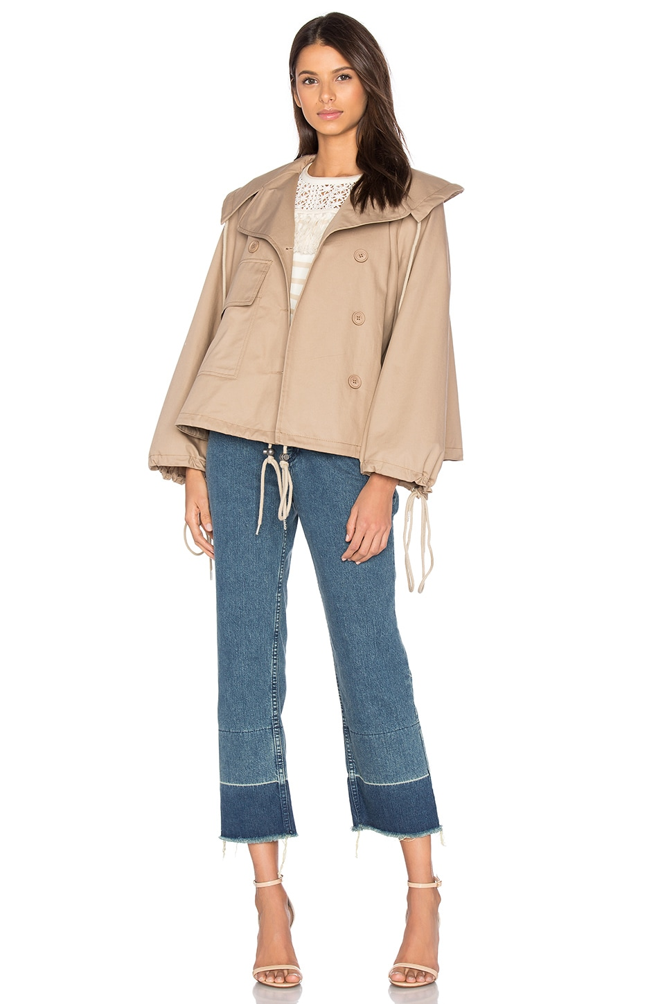 See By Chloe Short Trench Coat in Straw