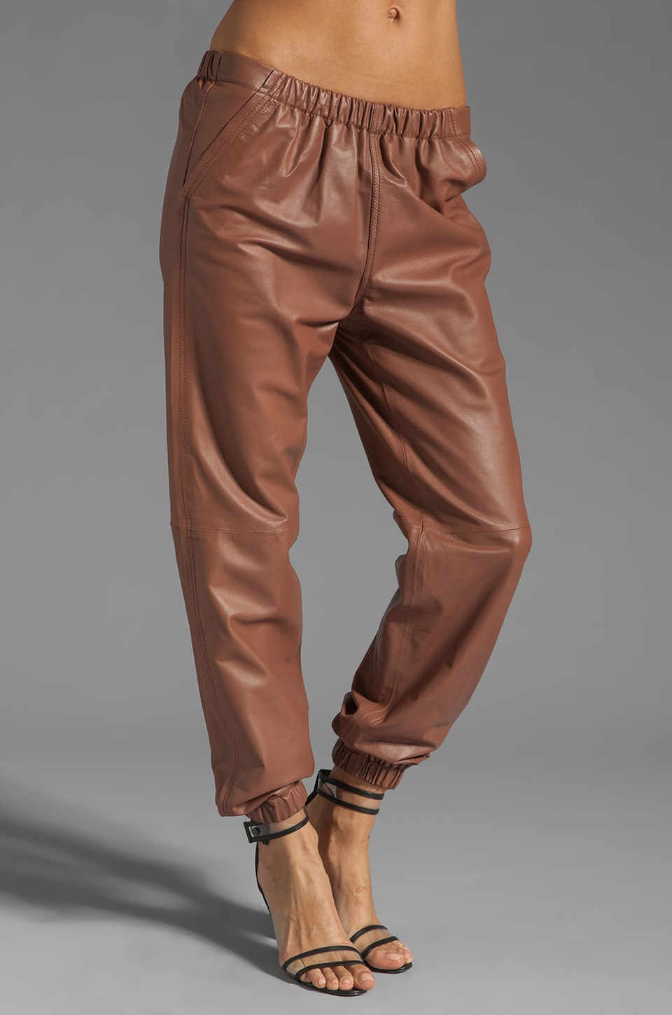 See By Chloe Leather Elastic Waistband Jogging Pant in Powder Pink