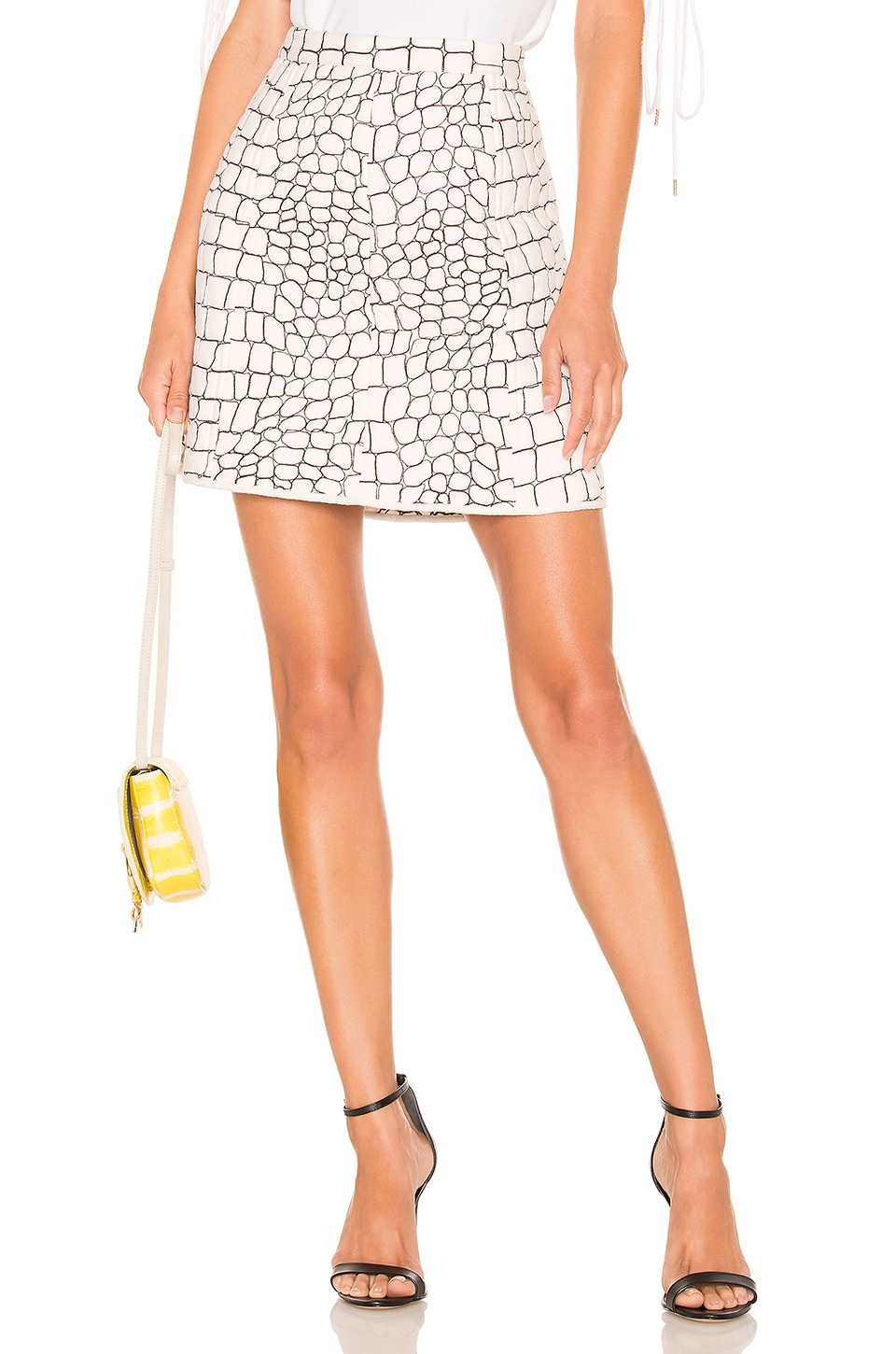 See By Chloe Animal Print Skirt in White & Brown