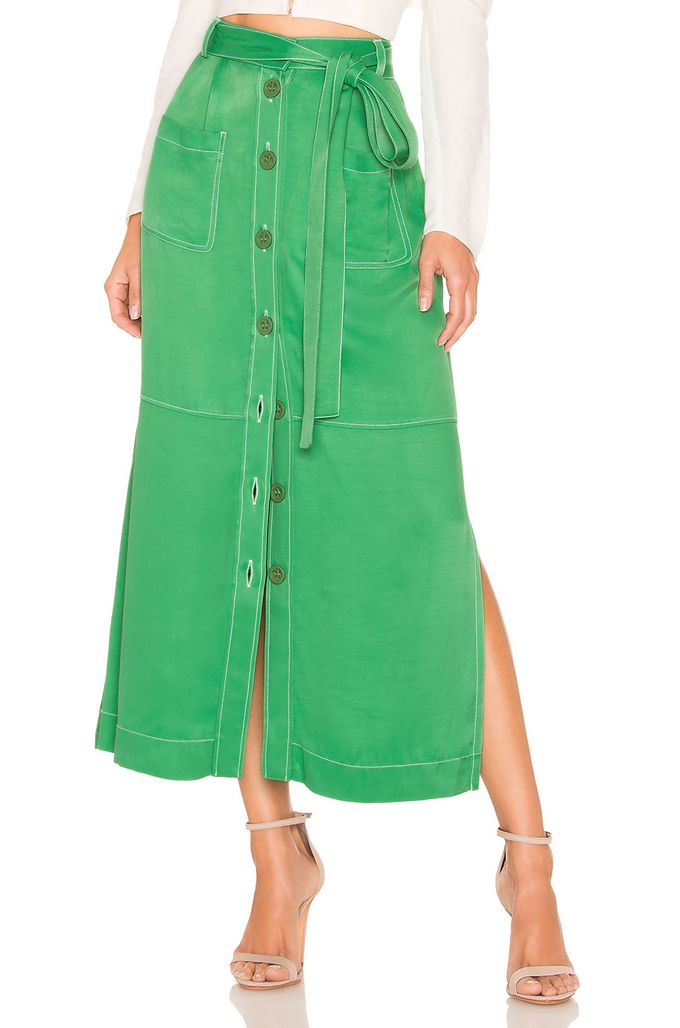 See By Chloe Belted Skirt in Free Green