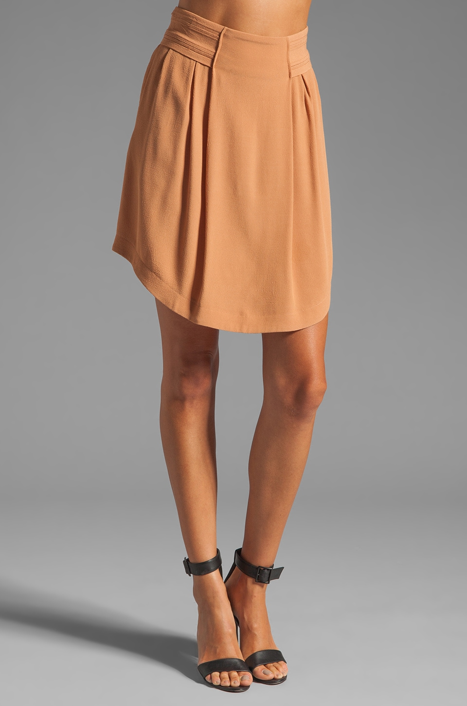 See By Chloe Front Pleat High Waisted Skirt in Medium Burnt