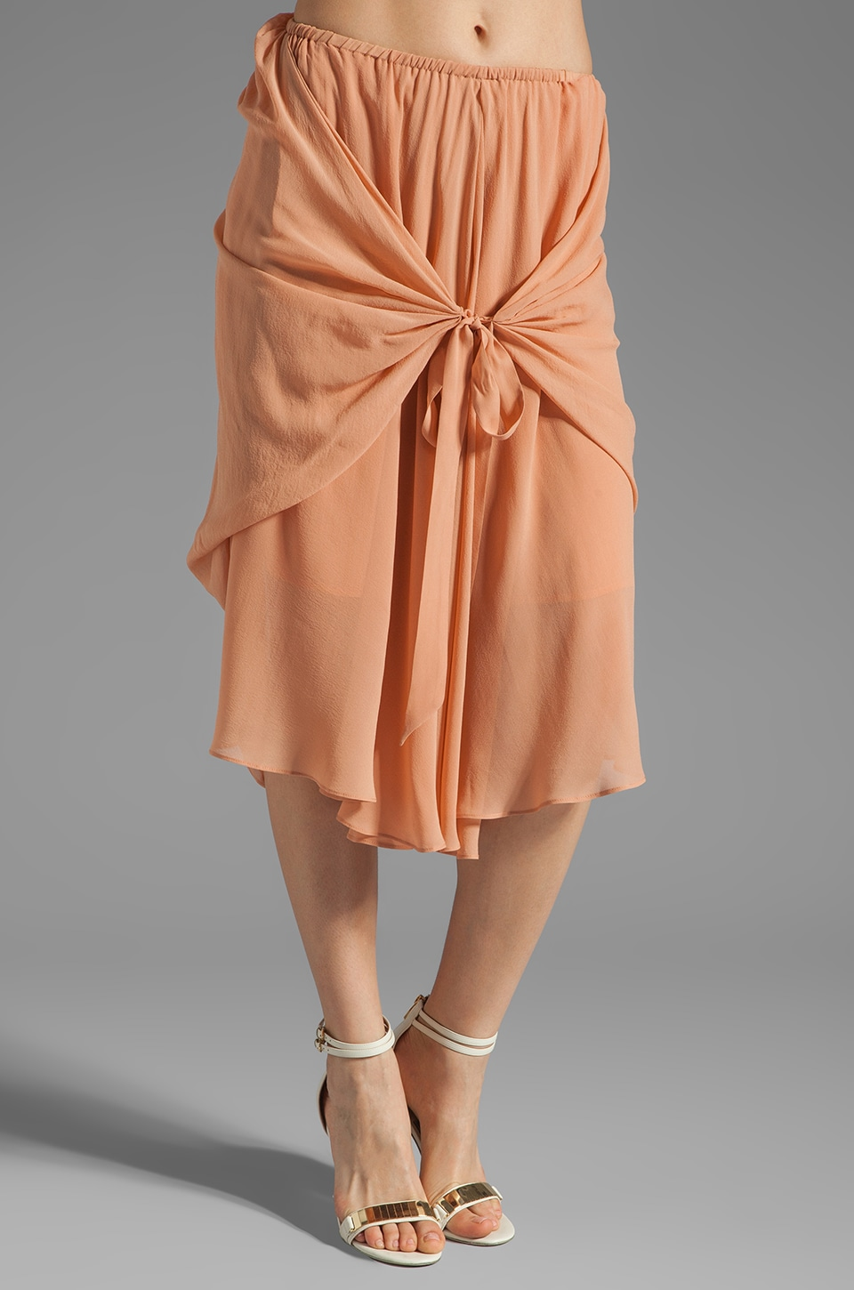 See By Chloe Uneven Hem Wrap Around Skirt in Peach
