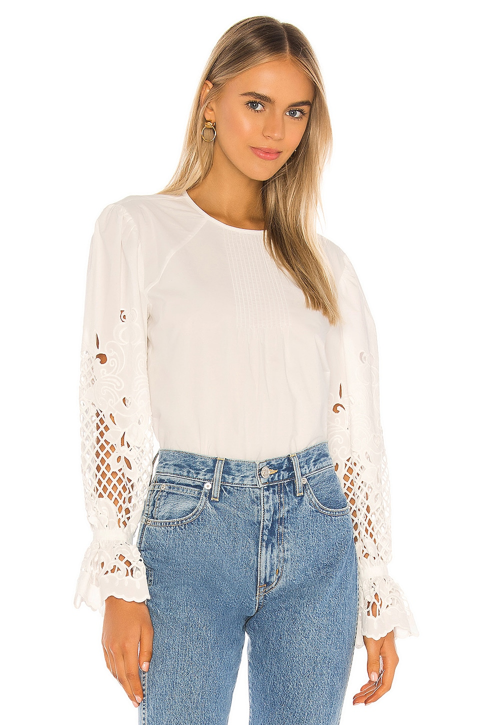 See By Chloe Embroidered Cotton Poplin Long Sleeve Blouse in White