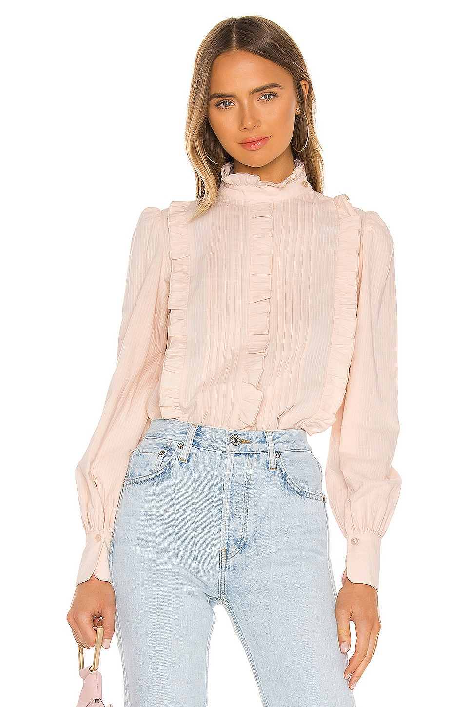See By Chloe Textured Poplin Blouse in Pink Sand