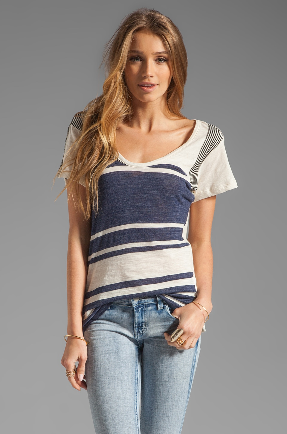 See By Chloe Short Sleeve Striped Tee in Black/Ecru/White