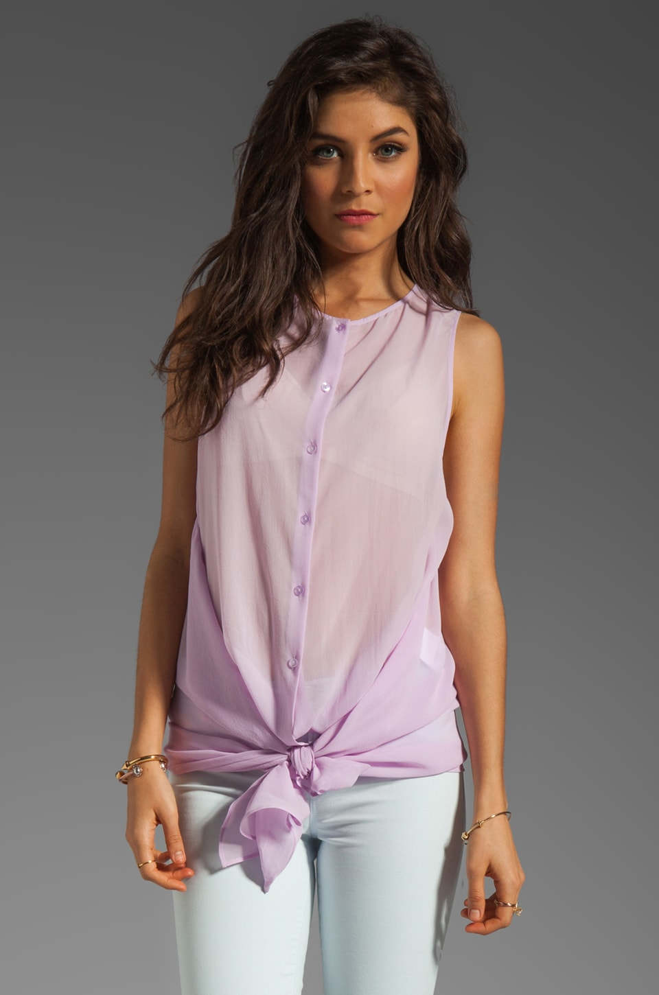 See By Chloe Button Front Winged Blouse in Violet