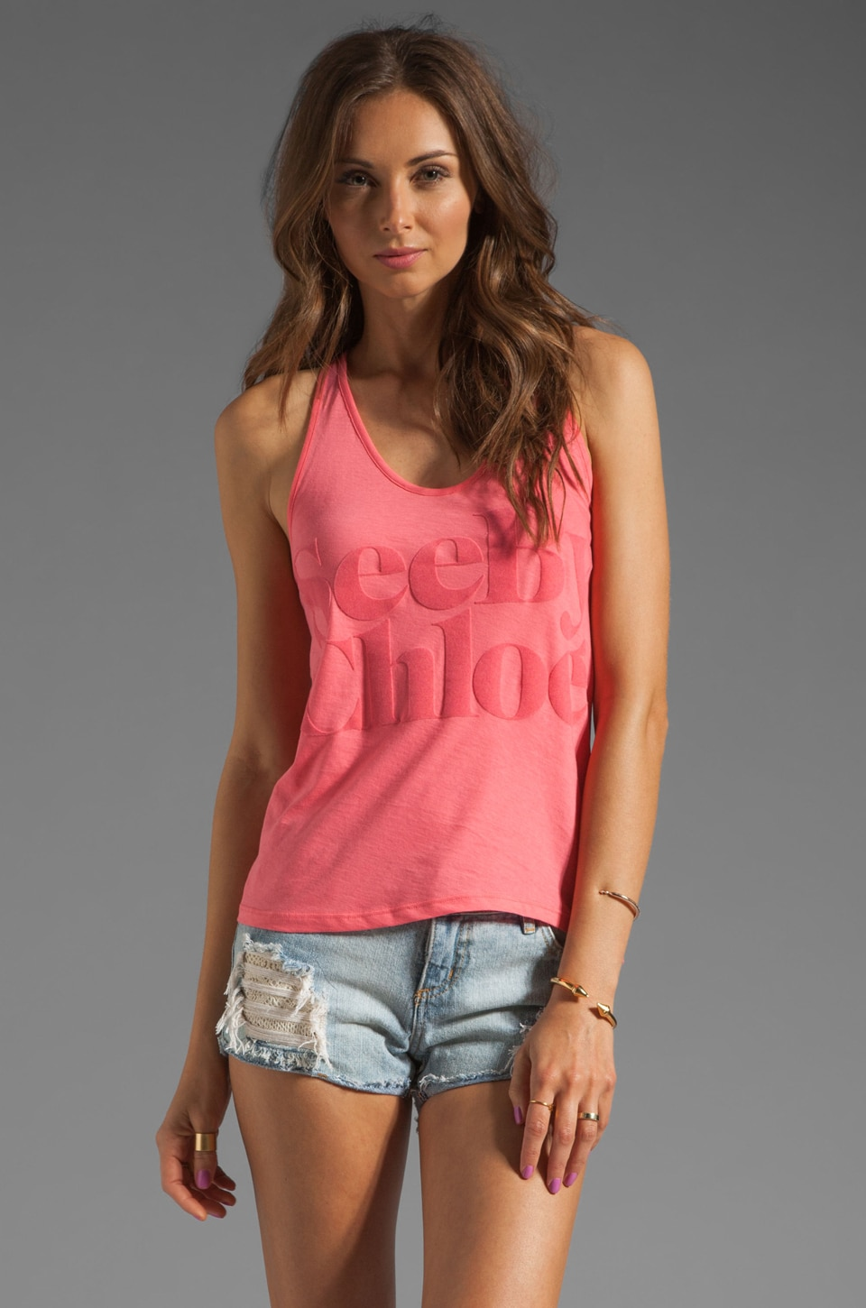 See By Chloe Logo Tank in Fuchsia
