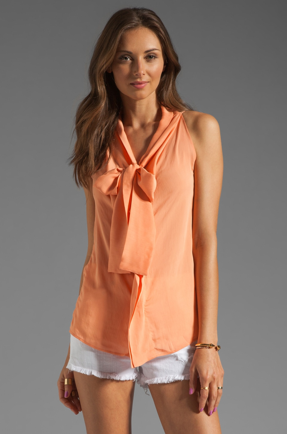 See By Chloe Neck Tie Blouse in Orange