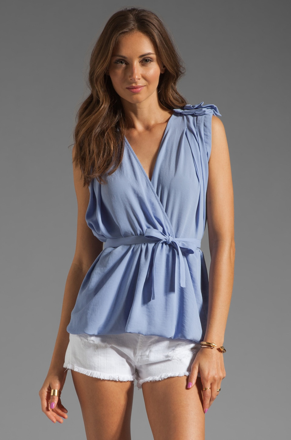 See By Chloe Shoulder Detail Waist Tie Blouse in Light Blue