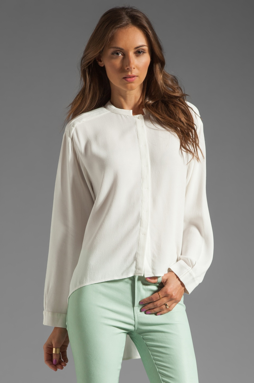 See By Chloe Button Down Uneven Hem Blouse in White