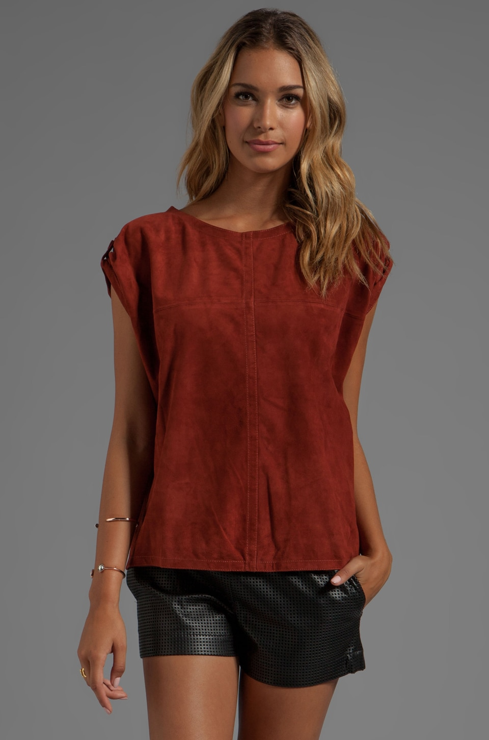 See By Chloe Short Sleeve Suede Round Neck Shirt in Burnt