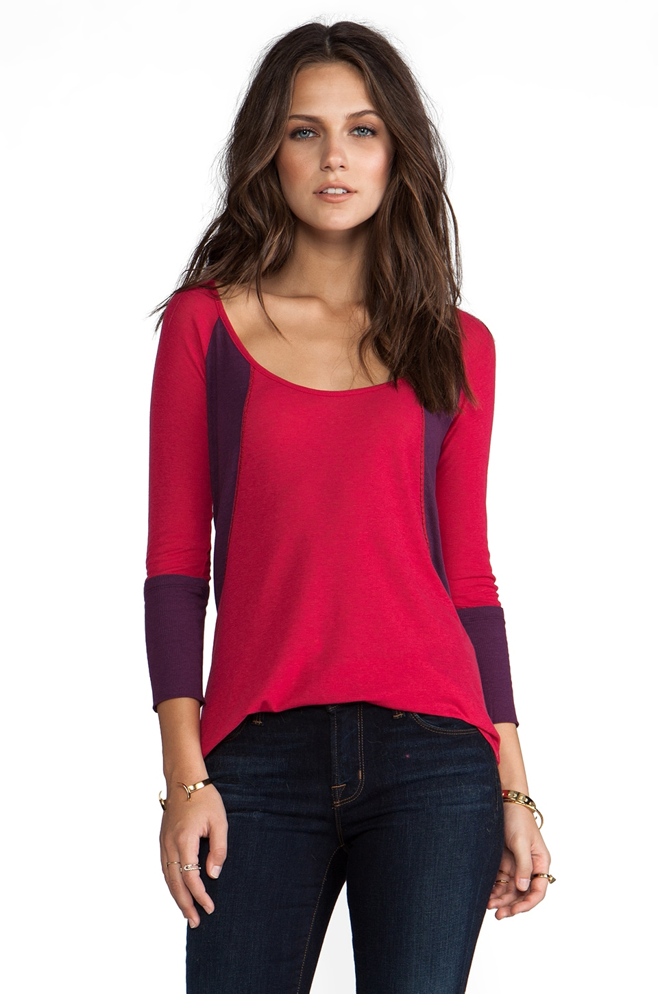 See By Chloe Long Sleeve Baggy Tee in Red