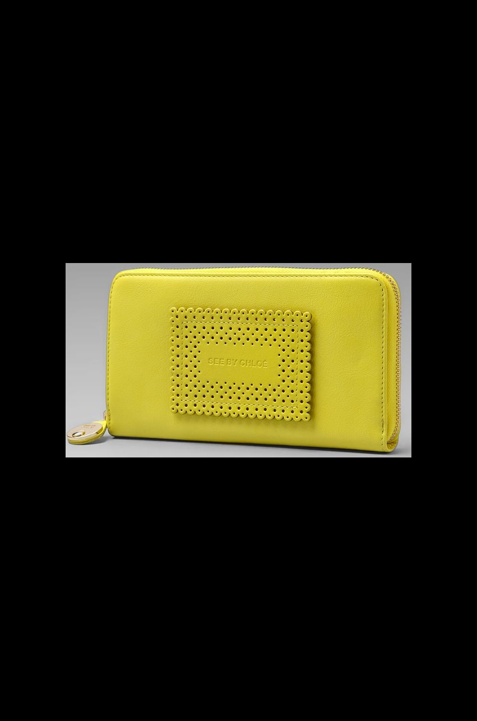 See By Chloe Maani Long Zipped Wallet in Canary