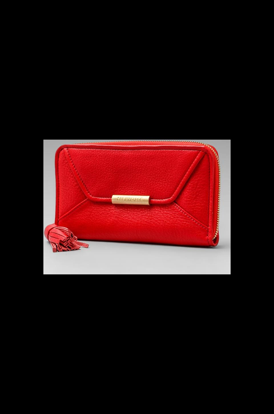 See By Chloe Long Zipped Wallet in Lipstick