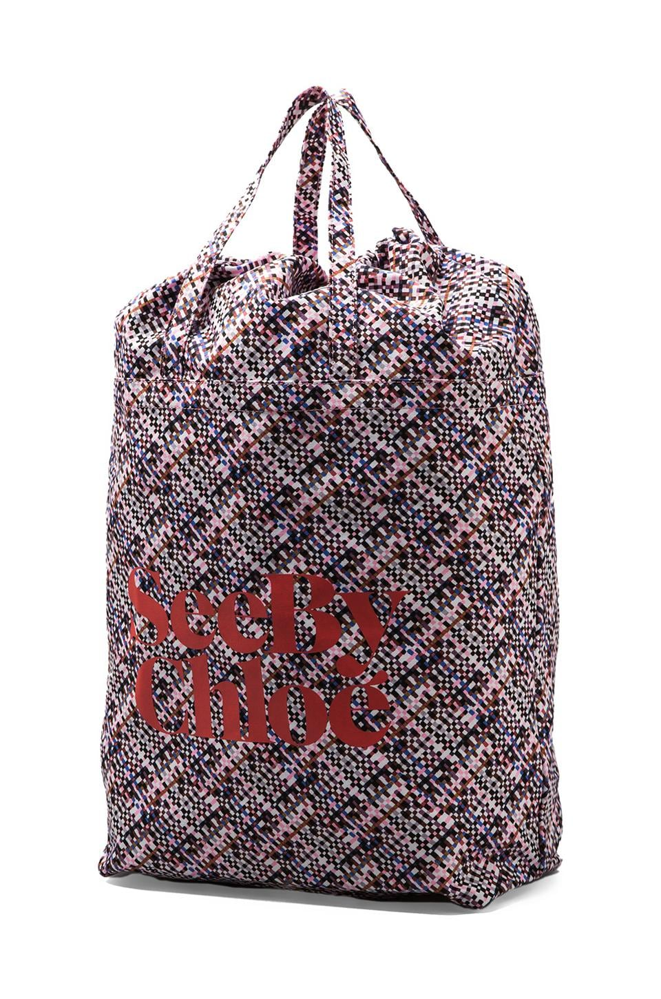 See By Chloe See by Ziggy Big Shopping Bag in Tweed Print Nougat