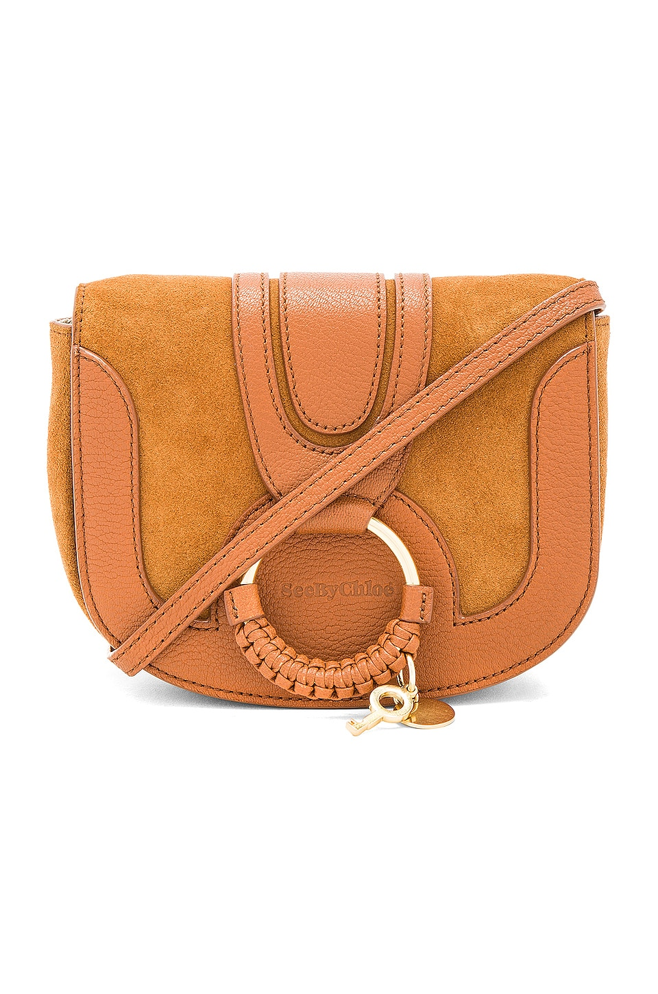See By Chloe Hana Mini Suede & Leather Crossbody in Caramello