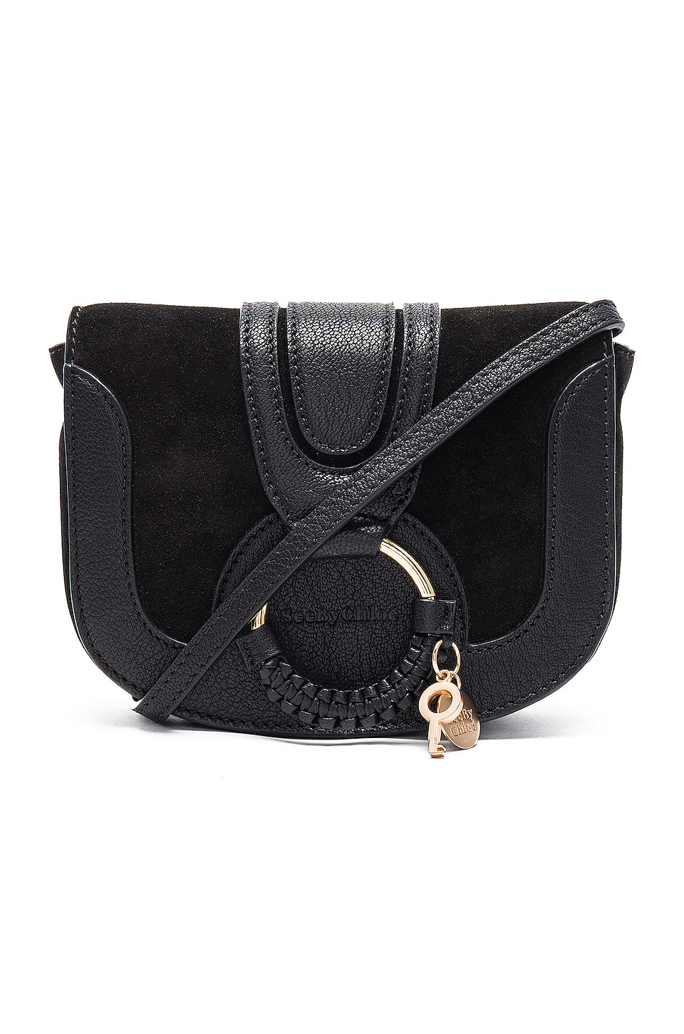See By Chloe Hana Mini Suede & Leather Crossbody in Black