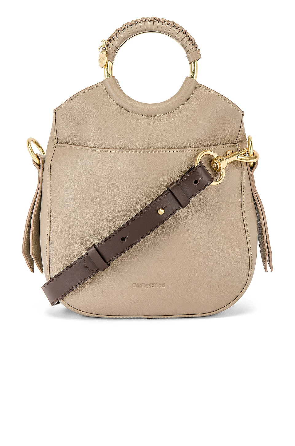 See By Chloe Monroe Small Leather Bracelet Tote in Motty Grey
