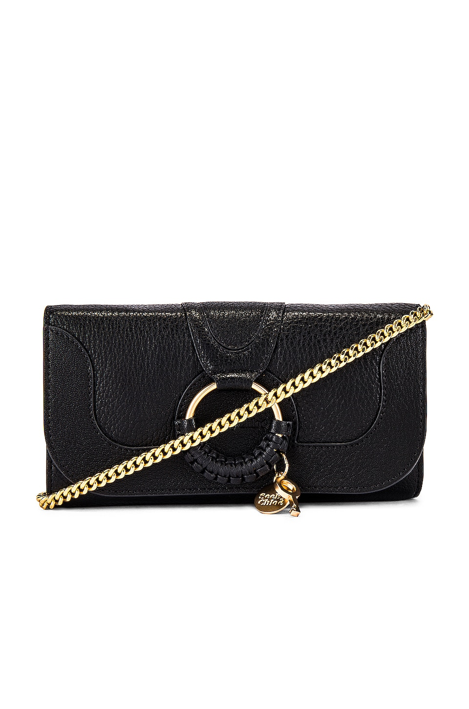 See By Chloe Hana Small Leather Wallet On A Chain Bag in Black