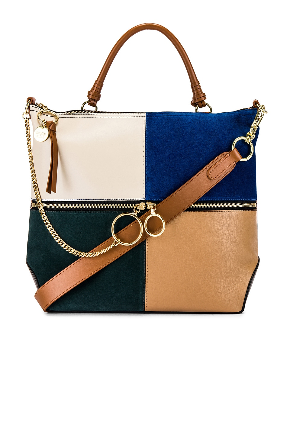 See By Chloe Emy Large Suede & Leather Satchel in Nightfall Green