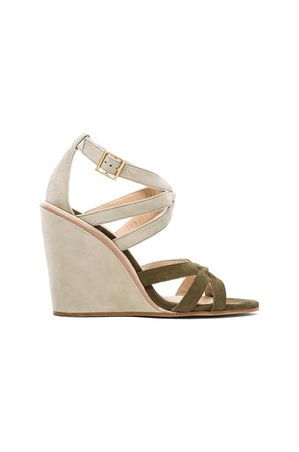See By Chloe Wedge Strap Sandal in Fern & Iceberg
