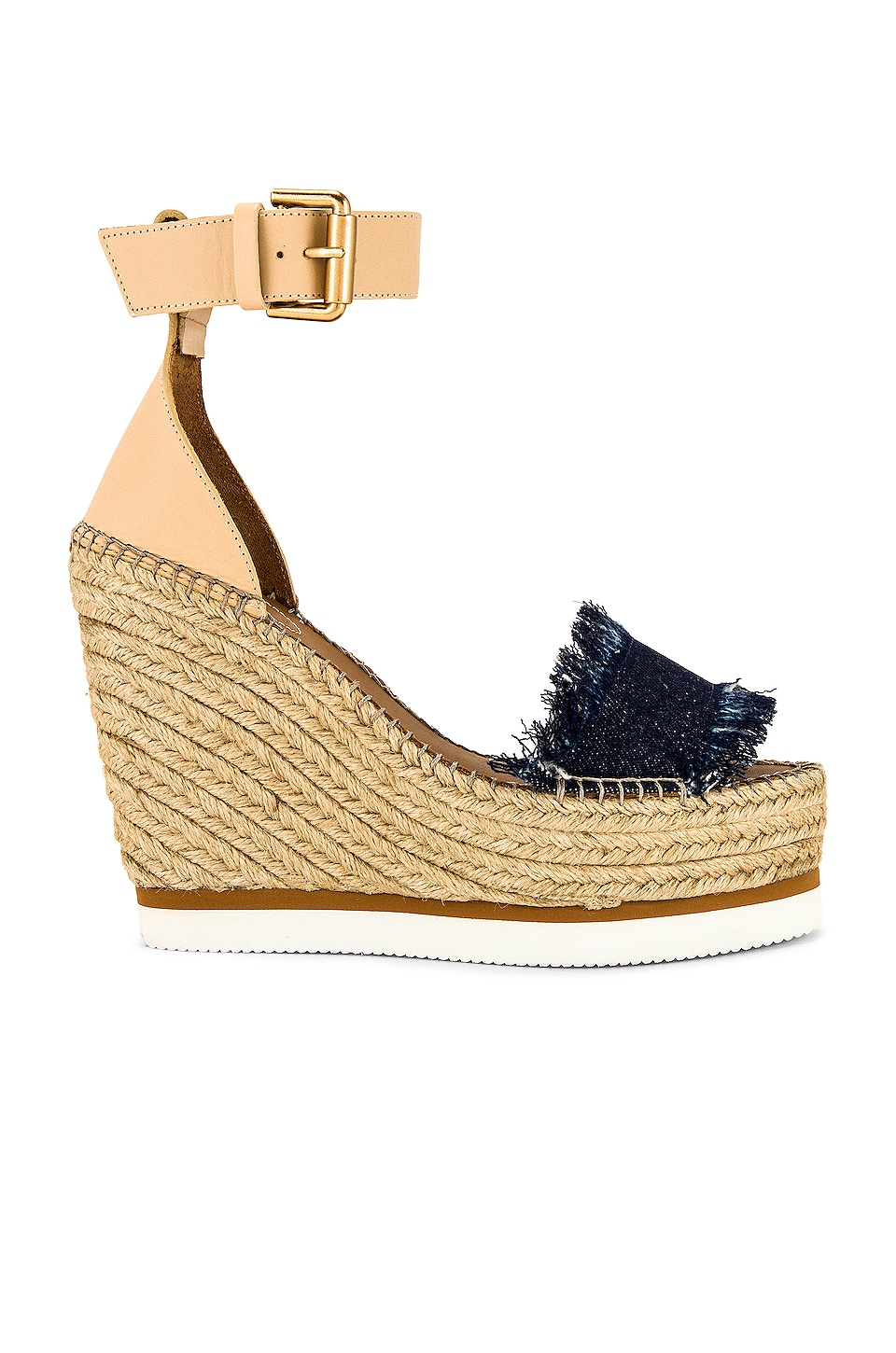See By Chloe Frayed Wedge in Denim
