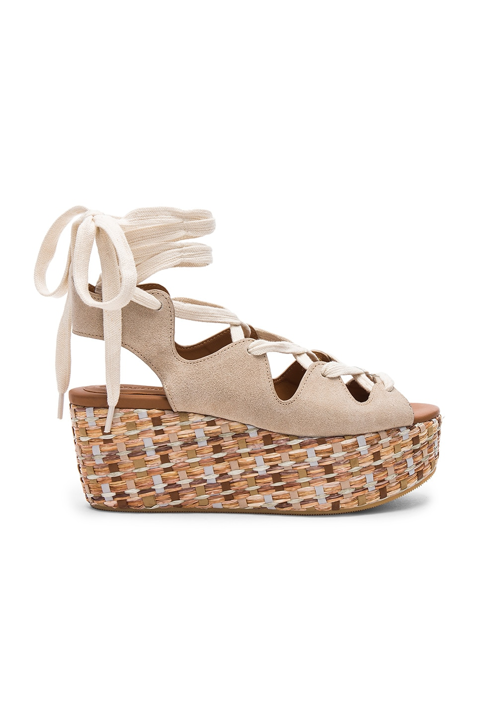 See By Chloe Lace Up Platform Sandal in Beige