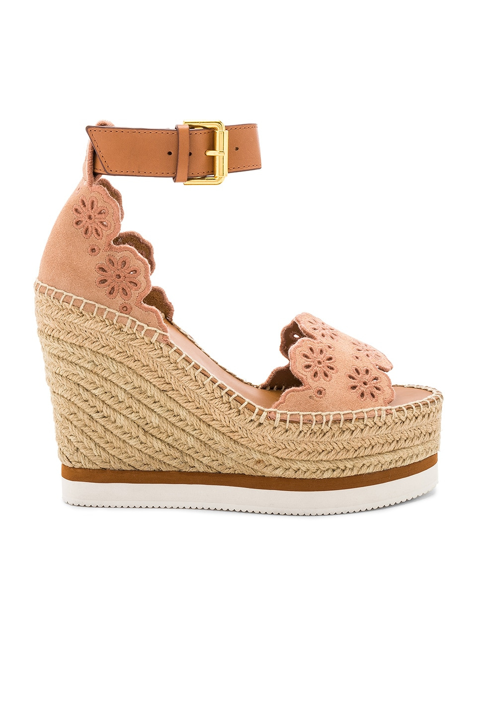 d06ec621bd3 See By Chloe Glyn Wedge Sandal in Cipria & Natural Calf | REVOLVE