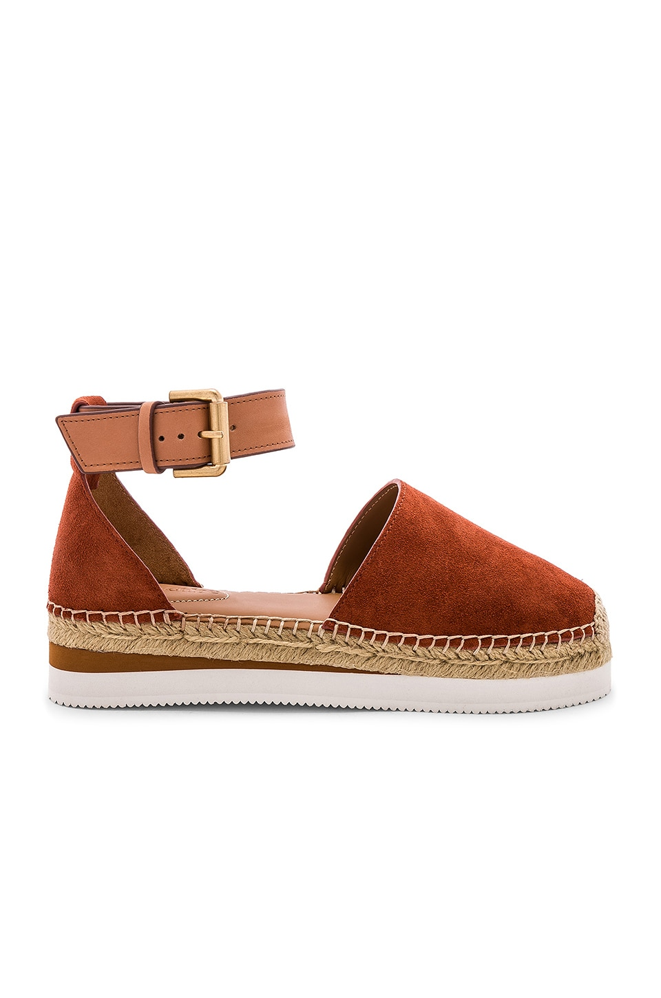 See By Chloe Glyn Espadrille Sandal in Crosta Fox & Natural Calf