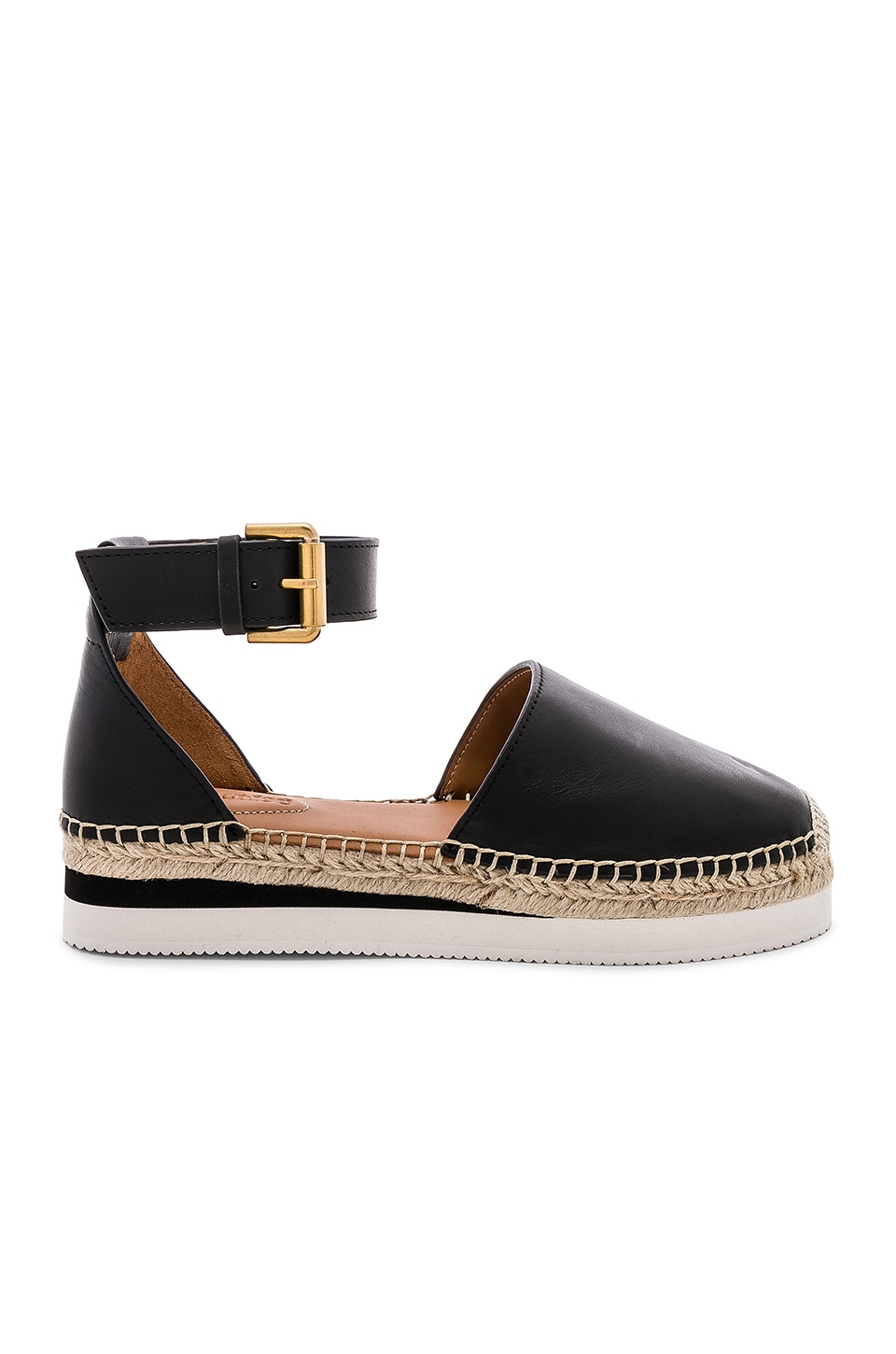 See By Chloe Glyn Espadrille Sandal in Plain Calf Nero & Natural Calf