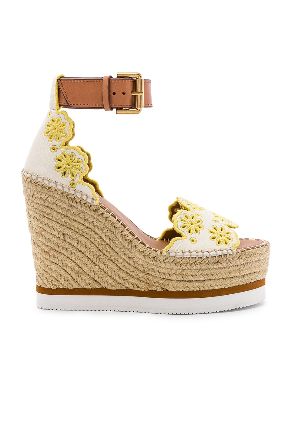 See By Chloe X REVOLVE Glyn Wedge Sandal in Gesso & Yellow
