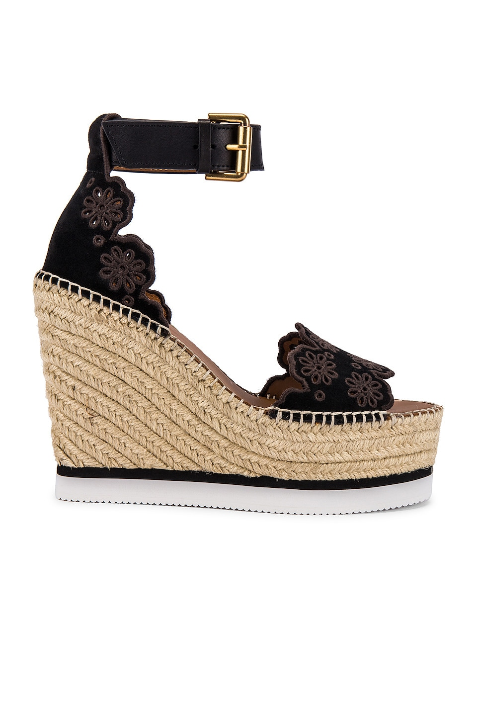 See By Chloe Glyn Wedge Sandal in Black & Natural Calf