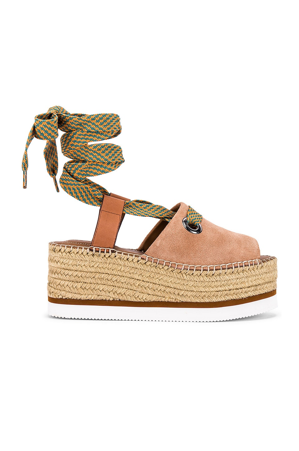 See By Chloe Glyn Wrap Platform Sandal in Powder & Natural Calf