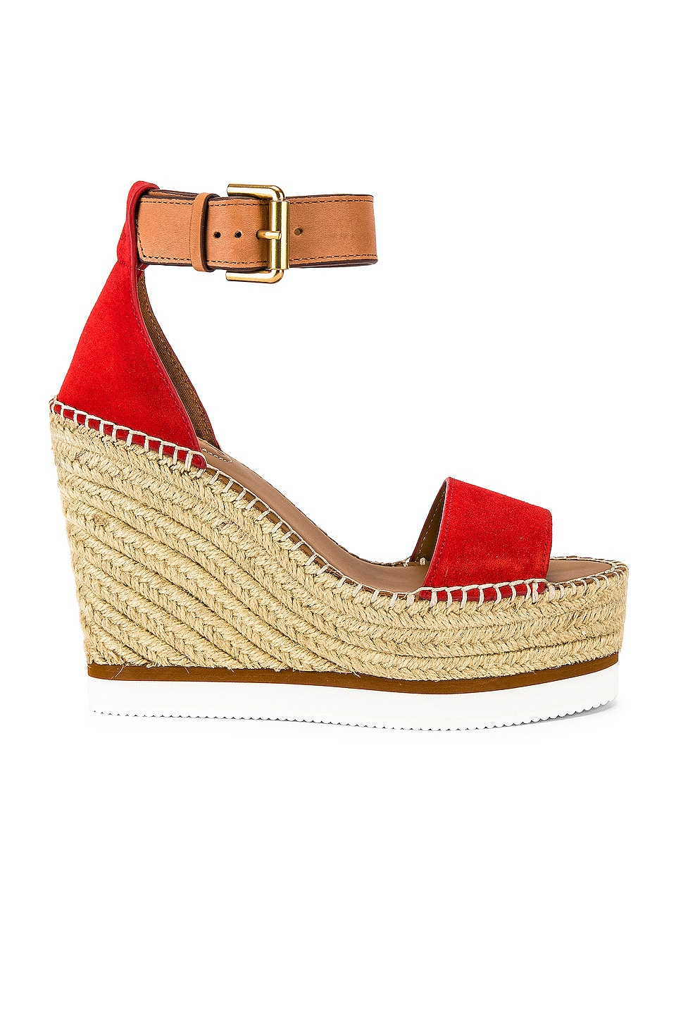 See By Chloe Glyn Wedge Sandal in Red & Natural Calf