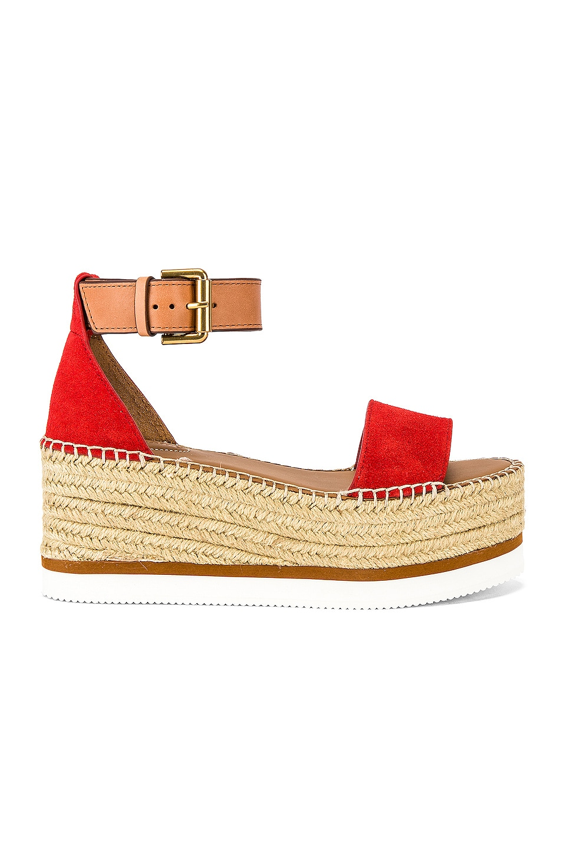 See By Chloe Glyn Platform Sandal in Red & Natural Calf