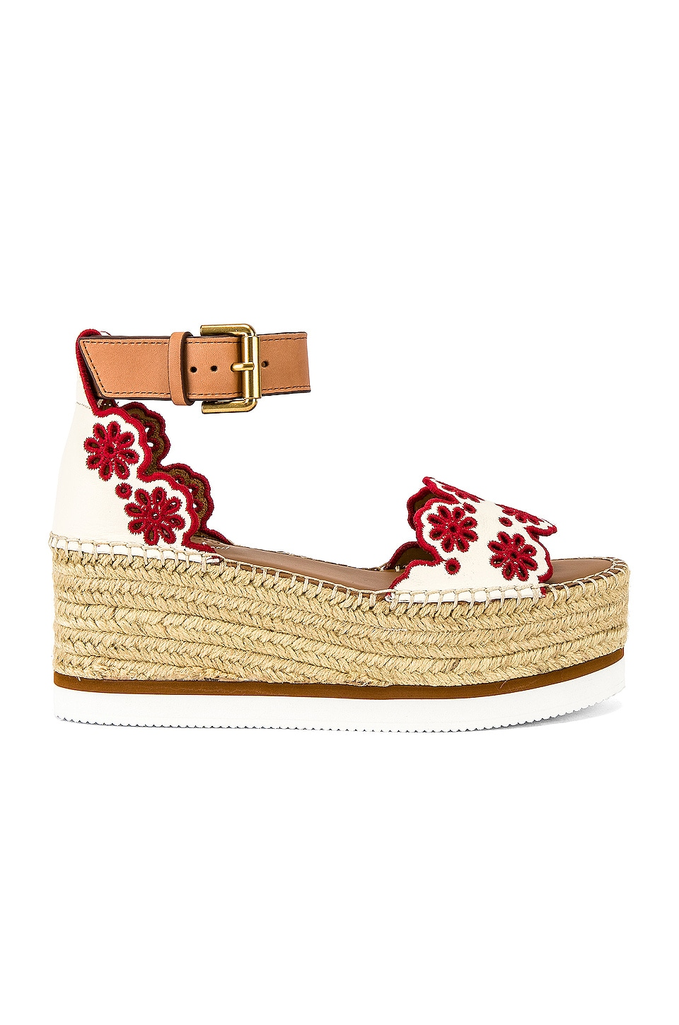 See By Chloe Glyn Platform Sandal in Chalk & Red