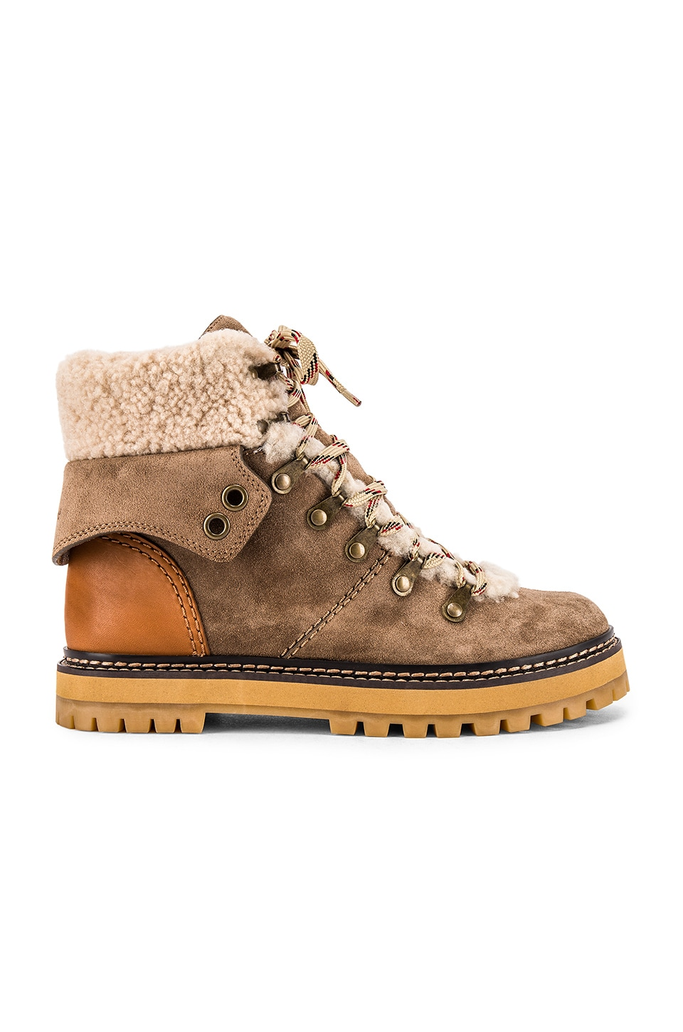 See By Chloe Eileen Boot in Taupe, Natural Calf & Shearling
