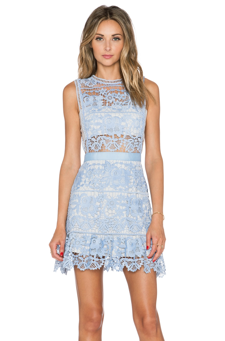 9409d44d91e5 self-portrait Lace Peplum Mini Dress in Pale Blue | REVOLVE