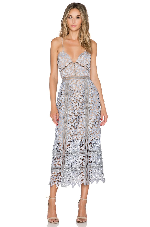 c2a534243bcd self-portrait Arabella Midi Dress in Smoked Lilac & Nude | REVOLVE